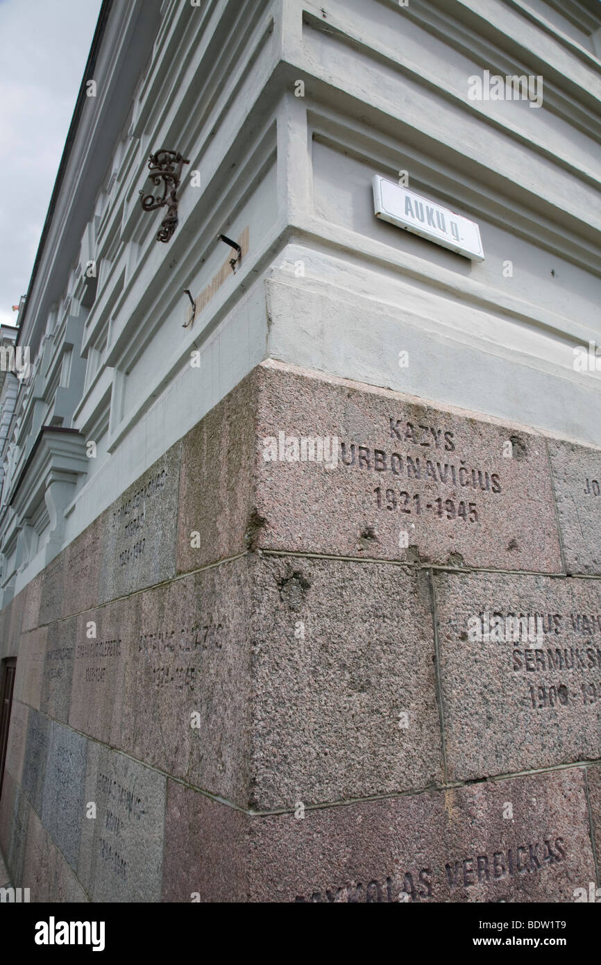 memorial plaque, vilnius, lithuania - Stock Image