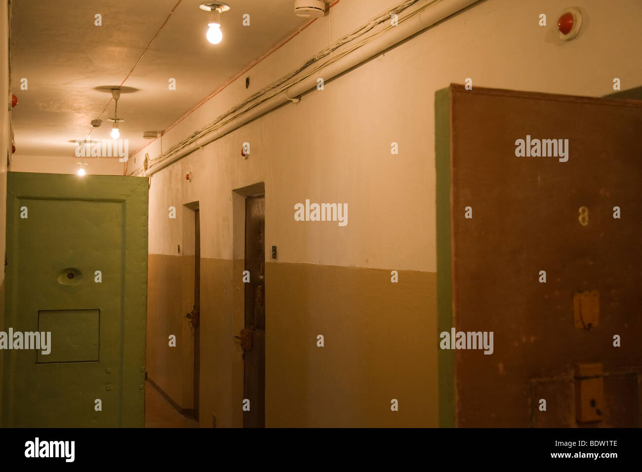 corridor former soviet prison of the kgb, committee for state security, vilnius, lithuania - Stock Image