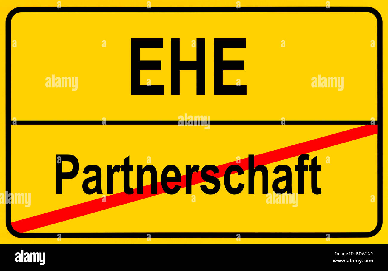 Sign city limits, symbolic image for a conflict between partnership and marriage - Stock Image