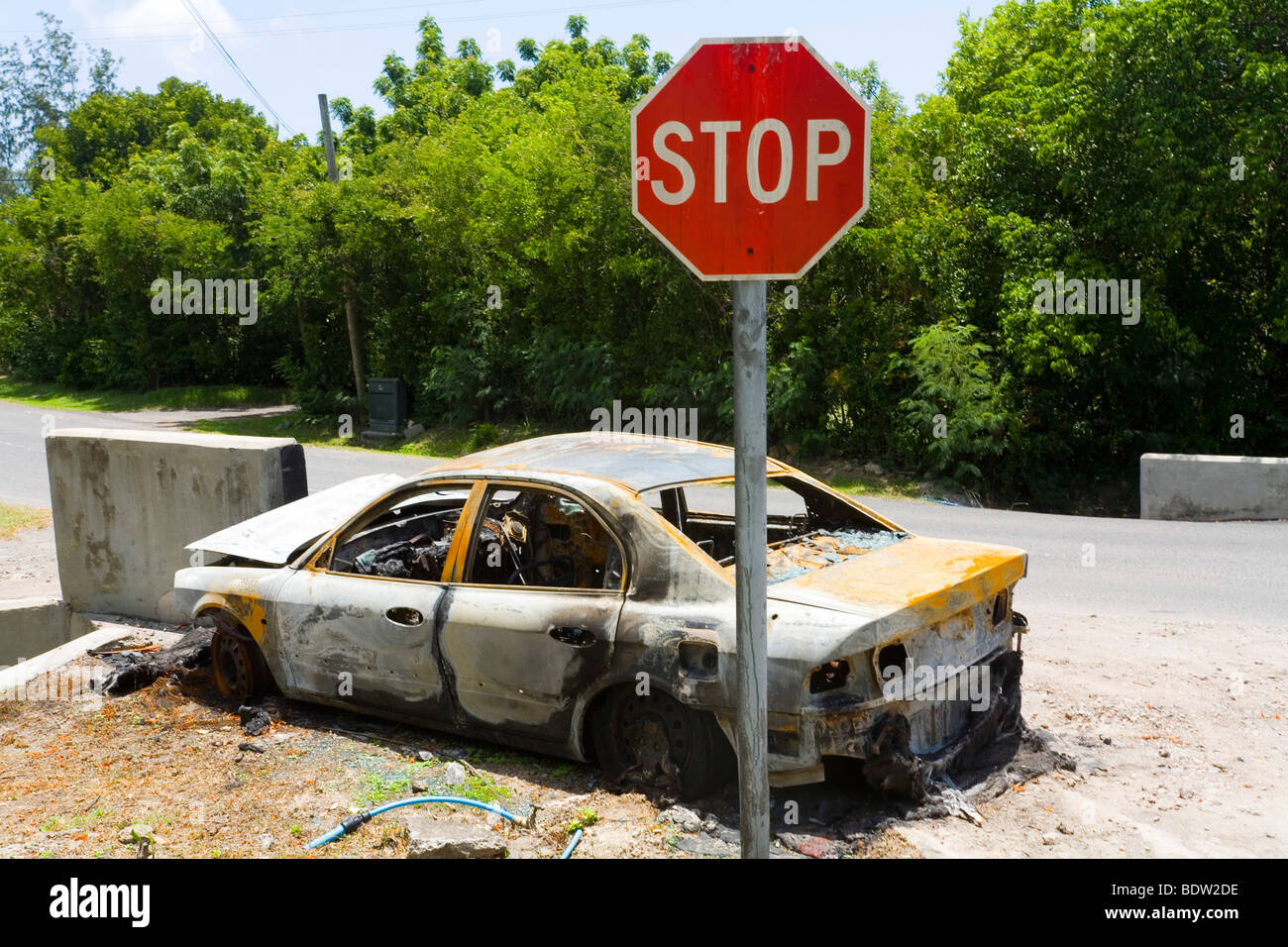 Remains of a car after crash and fire. - Stock Image