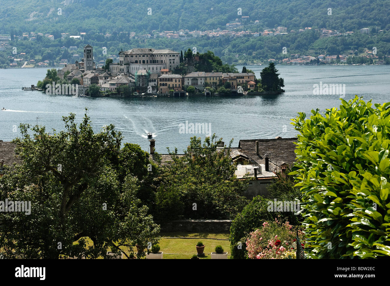 Island of San Giulio on Lake Orta, Lago d'Orta, Piedmont, Italy, Europe Stock Photo