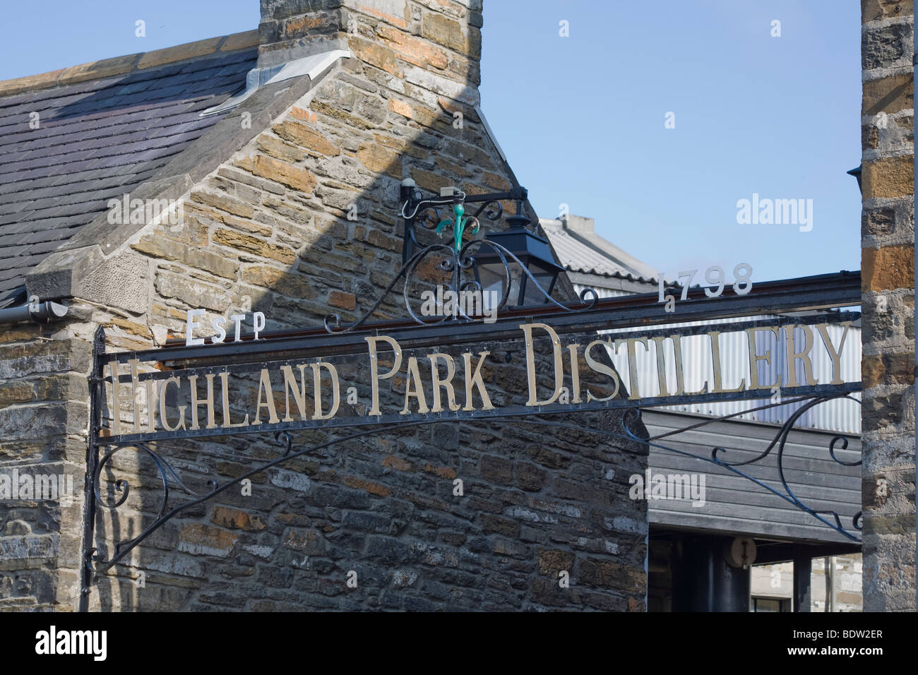Eingang, entrance, highland park distillery in kirkwall, orkney islands, scotland Stock Photo