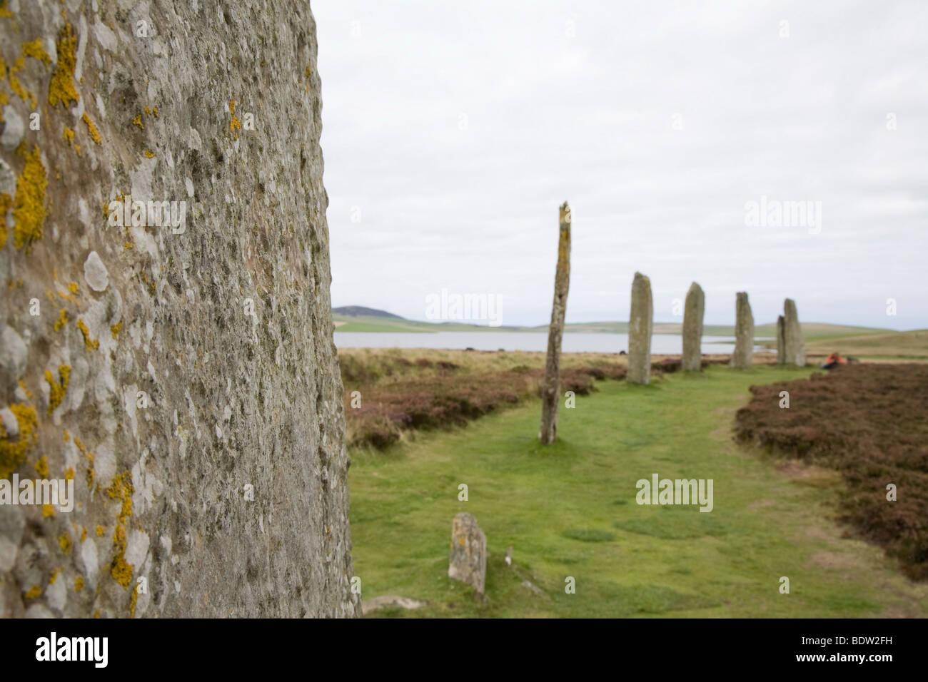 weltkulturerbestaette steinzeitlicher steinkreis, ring of brodgar, world culture heritage, orkney islands, scotland - Stock Image