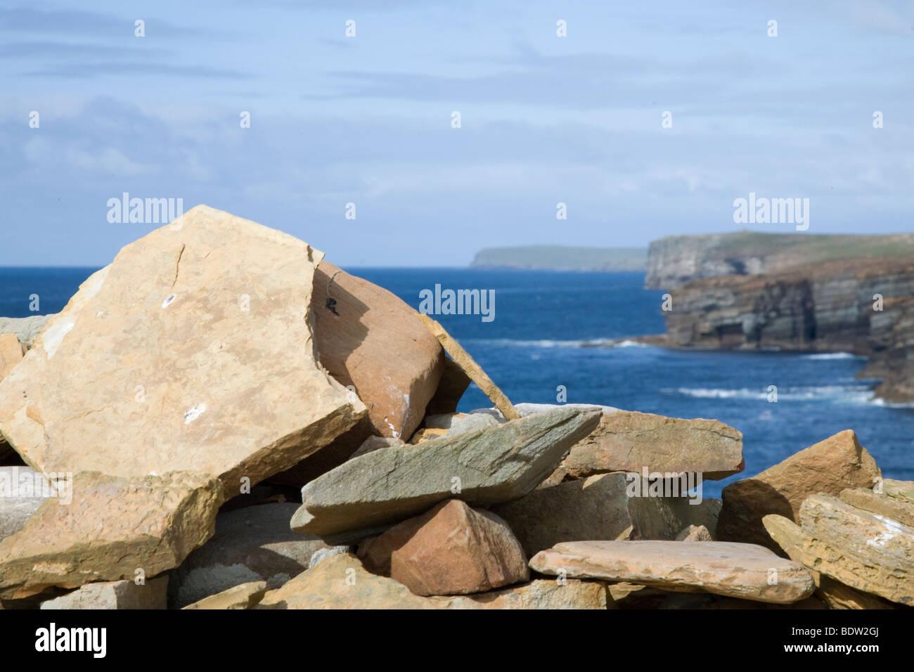 freestones at the westcoast of mainland, orkney islands, scotland - Stock Image
