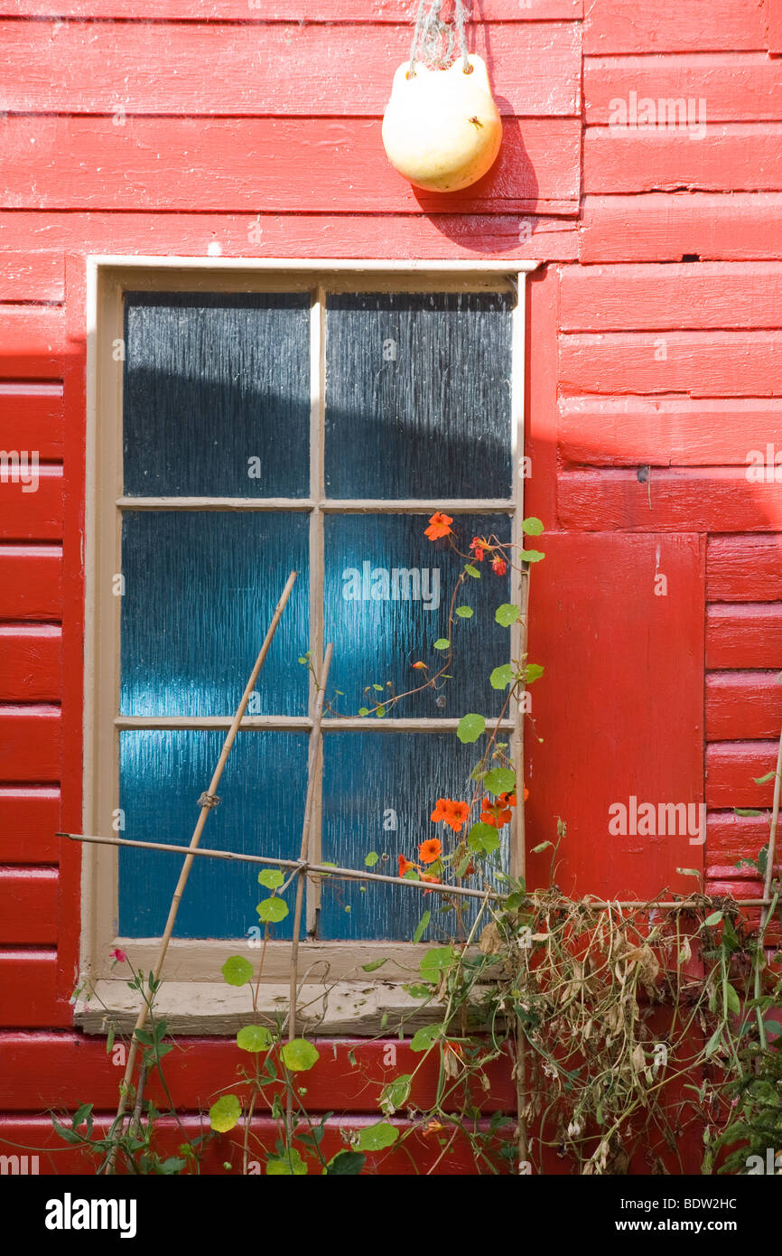 rotes fischerhaus, red fishing house, orkney islands, scotland - Stock Image