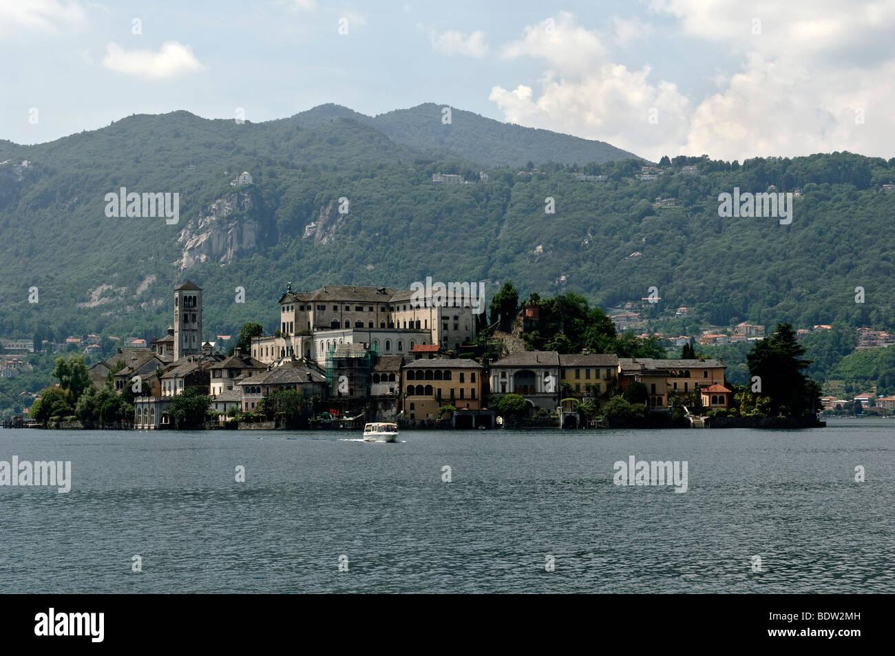 Island of San Giulio on Lake Orta, Lago d'Orta, Piedmont, Italy, Europe Stock Photo