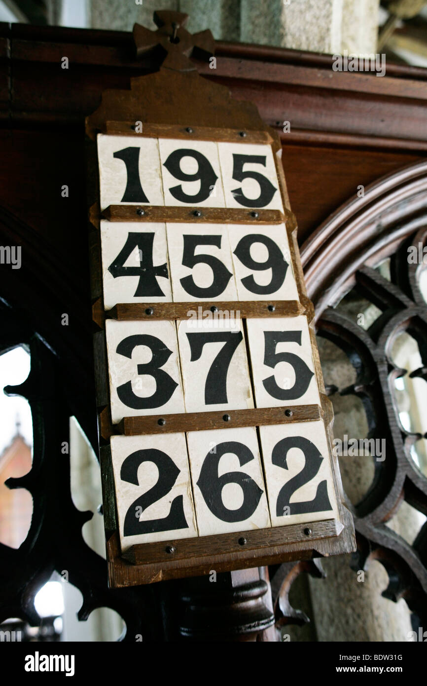 Hymn List, Laneast Church, Cornwall - Stock Image