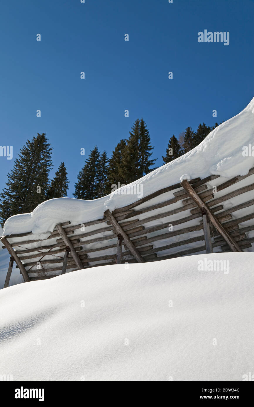 Europe, Austria, Tirol. St. Anton am Arlberg, avalanche prevention fences - Stock Image