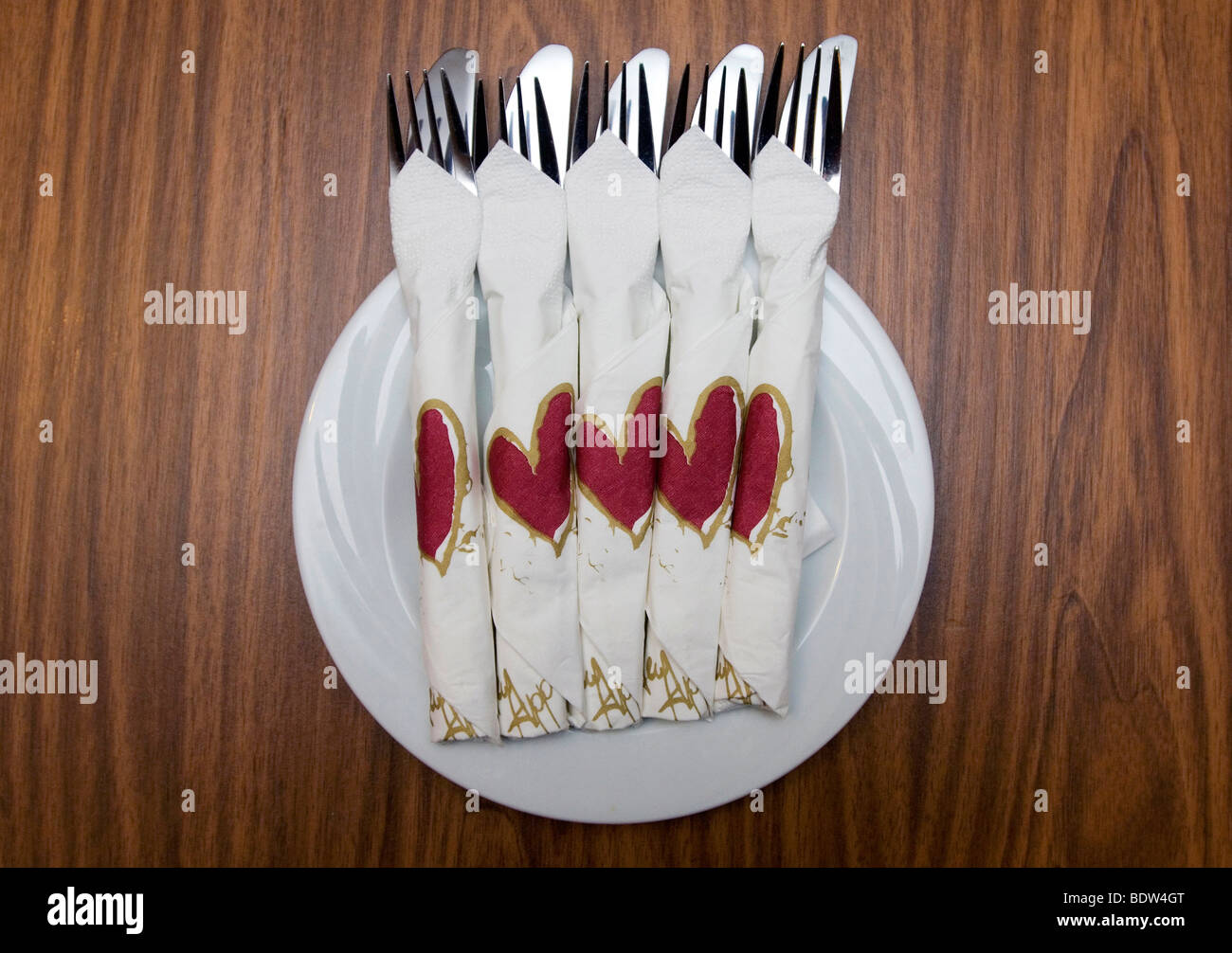 Plate with cutlery - Stock Image