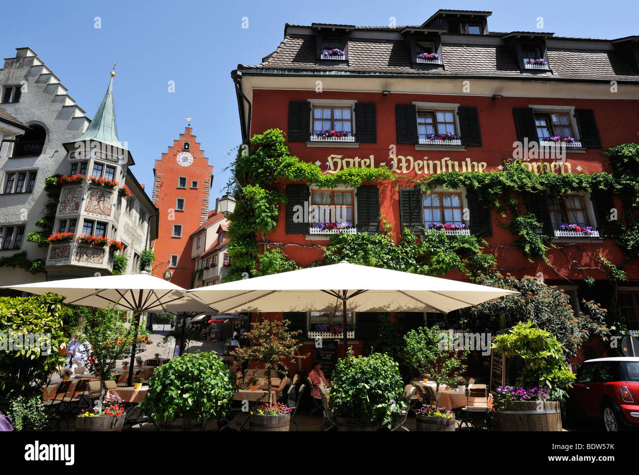 City centre of Meersburg on Lake Constance, Baden-Wurttemberg, Germany, Europe Stock Photo