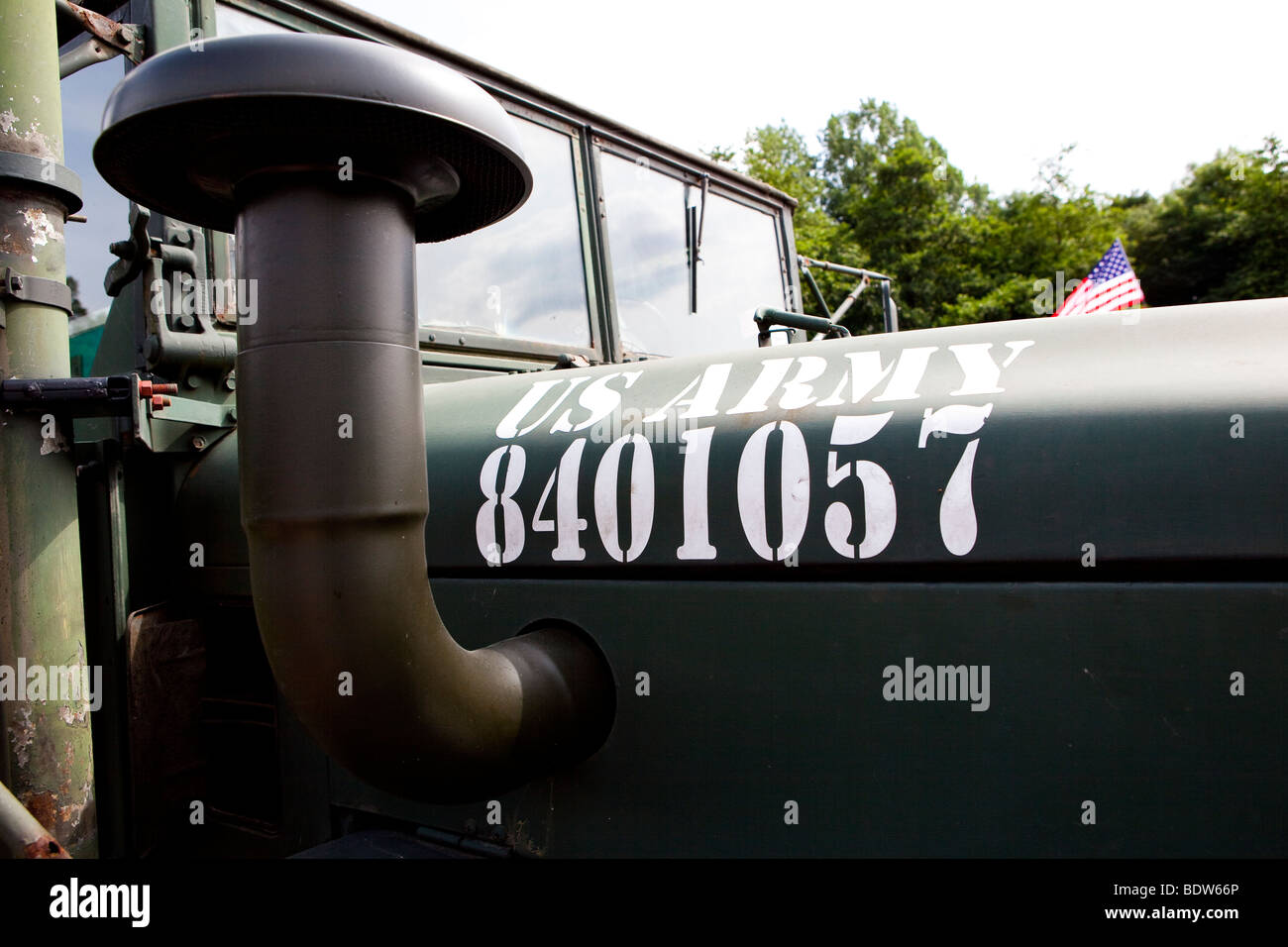 air intake and bonnet detail US Army truck - Stock Image