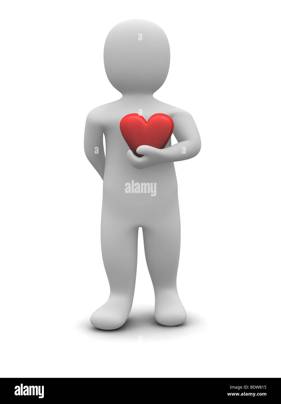 Man and red glossy heart - Stock Image