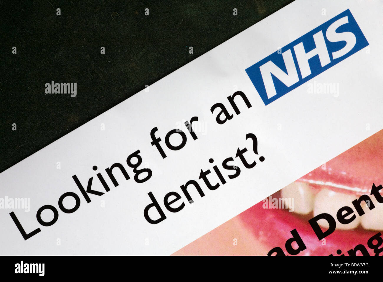 Looking for an NHS dentist leaflet - Stock Image
