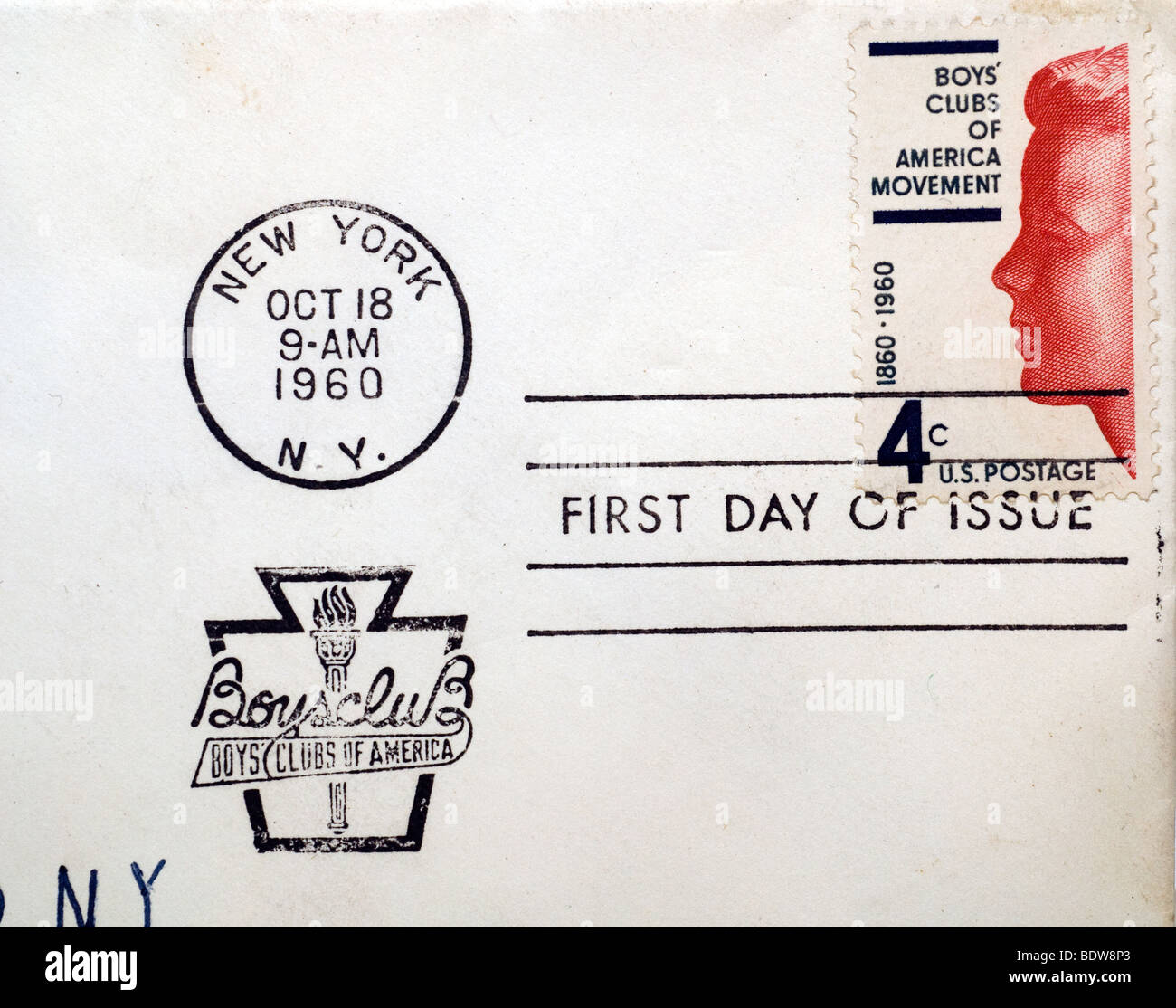 First day of issue postage cancellations. 1960 Boys' Clubs of America. (© Richard B. Levine) - Stock Image