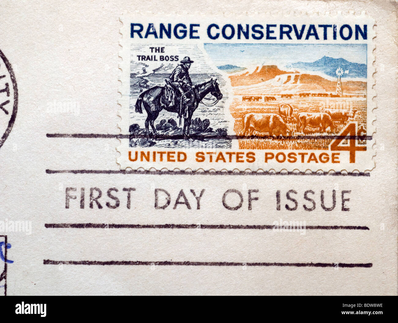 First day of issue postage cancellations. 1961 Range Conservation. (© Richard B. Levine) - Stock Image