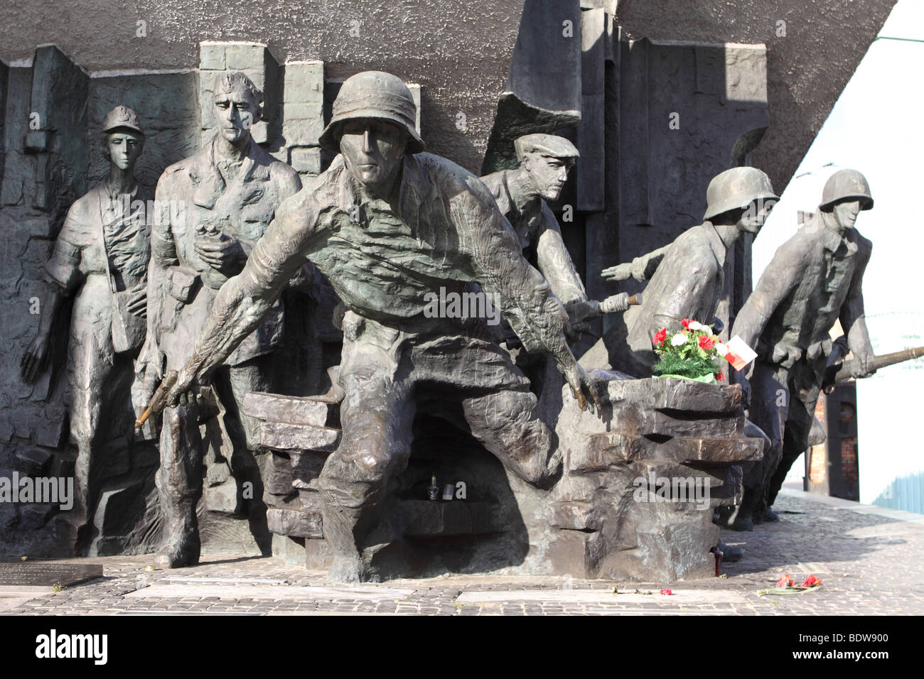 Warsaw Poland Monument to the 1944 Warsaw Uprising showing Polish resistance fighters at Plac Krasinskich in the Stock Photo
