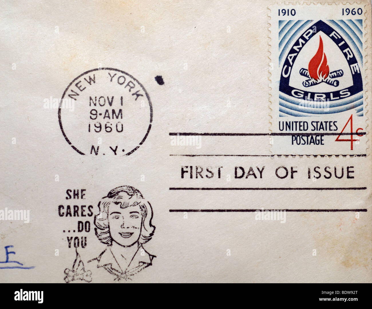 First day of issue postage cancellations. 1960 Camp Fire Girls. (© Richard B. Levine) - Stock Image