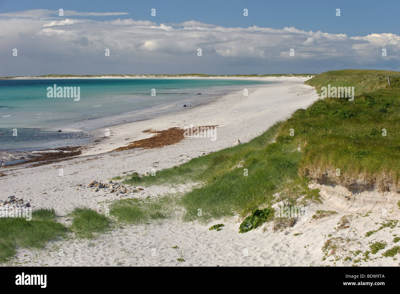Coral sand beach at Kildonan (Cill Donnain) on isle of South Uist. Western Isles, Scotland. - Stock Image