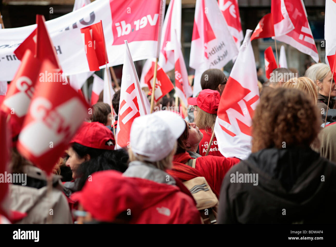 Demonstration march for the warning strike of the German Education and Science Workers' Union, Gewerkschaft Erziehung Stock Photo