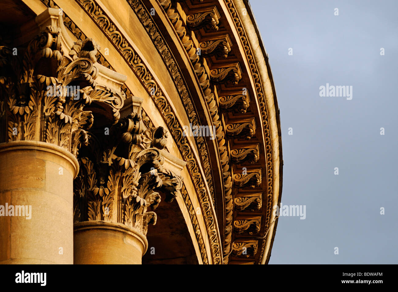 Columns and Ornate Stone Masonry on the Exterior of the Radcliffe Camera, Oxford, Oxfordshire, United Kingdom. - Stock Image