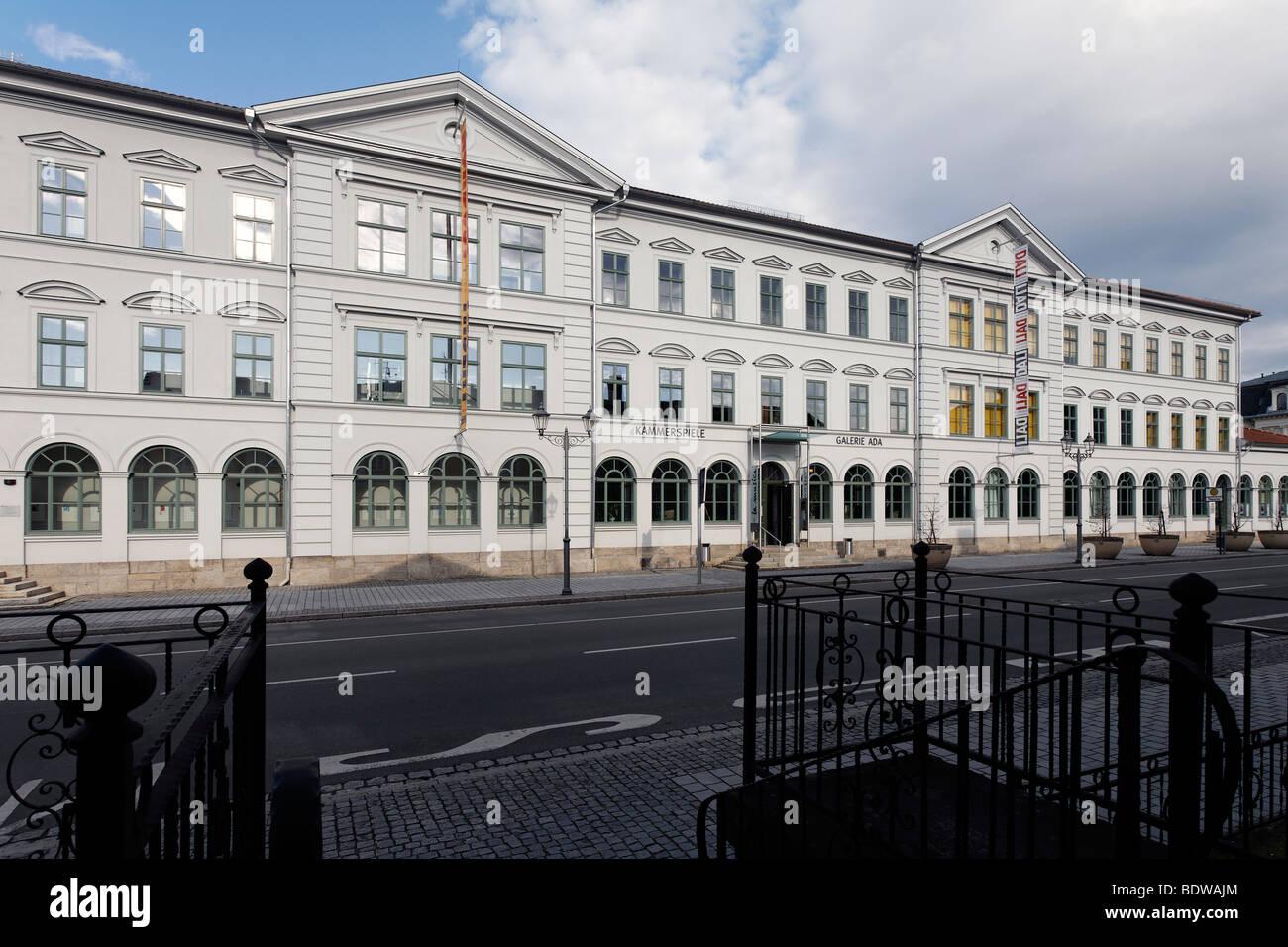 Former department store and school building, historic façade, renovated, Bernardstrasse street, Meiningen, Rhoen, Stock Photo