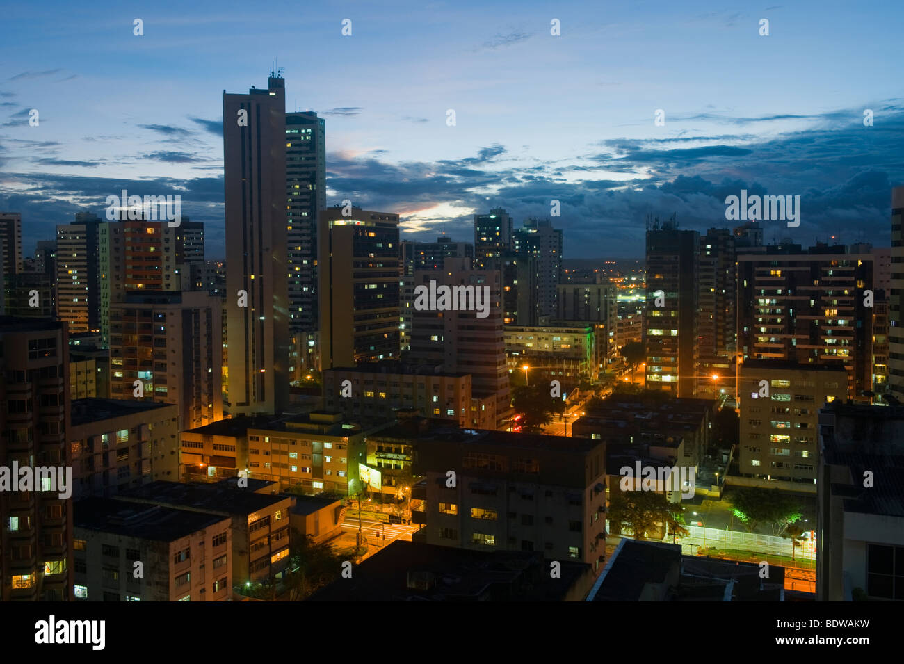Recife skyline at night, Pernambuco state, Brazil - Stock Image