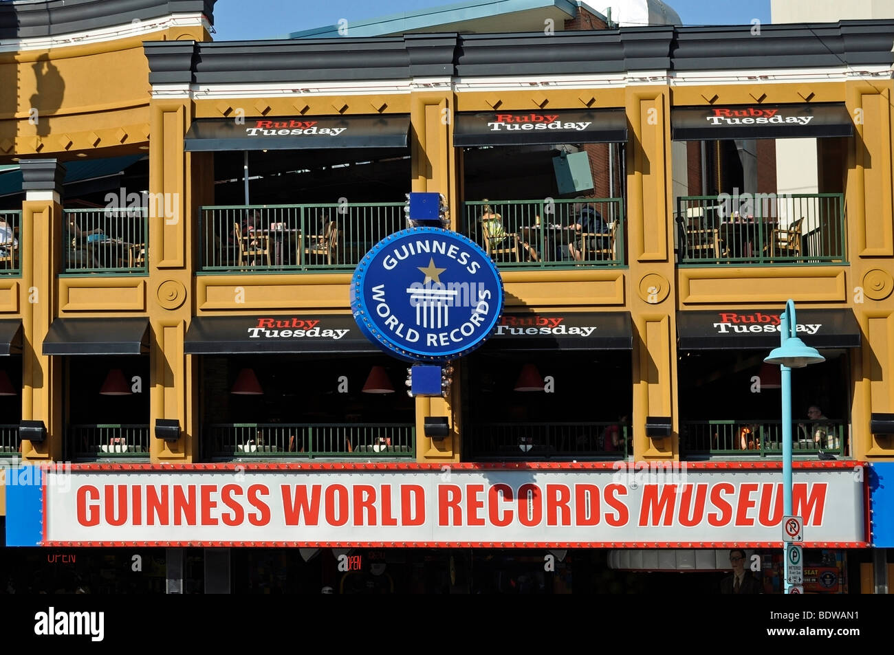 Guinness World Records Museum and Ruby Tuesday Restaurant - Attractions on Clifton Hill, Niagara, Canada - Stock Image