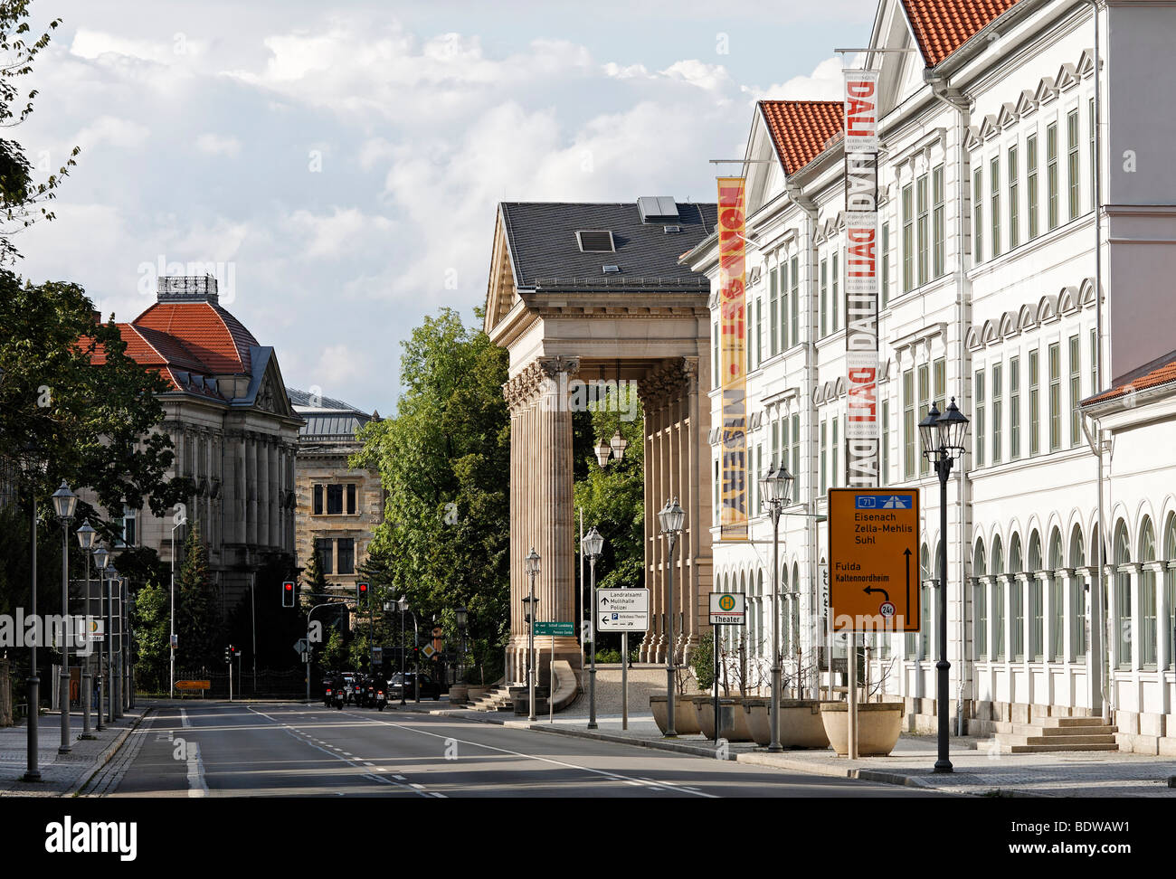 Bernhardstrasse street with theater and neoclassical buildings, Meiningen, Rhoen, Thuringia, Germany, Europe - Stock Image