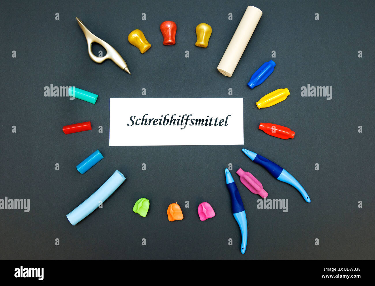 Writing tools for occupational therapy - Stock Image