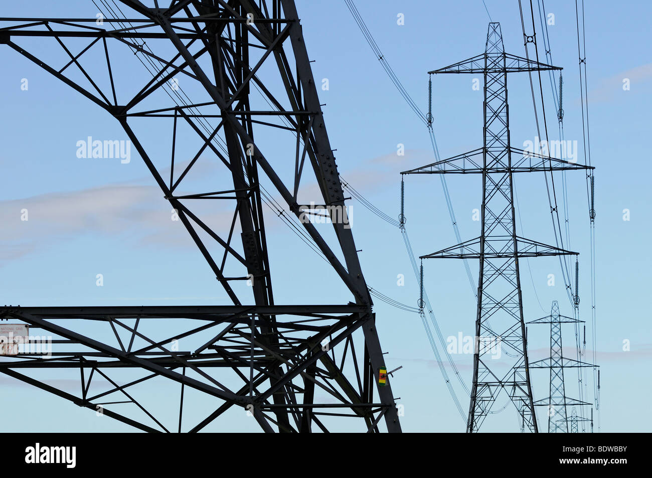 Electricity Pylons, Didcot, Oxfordshire, United Kingdom. - Stock Image