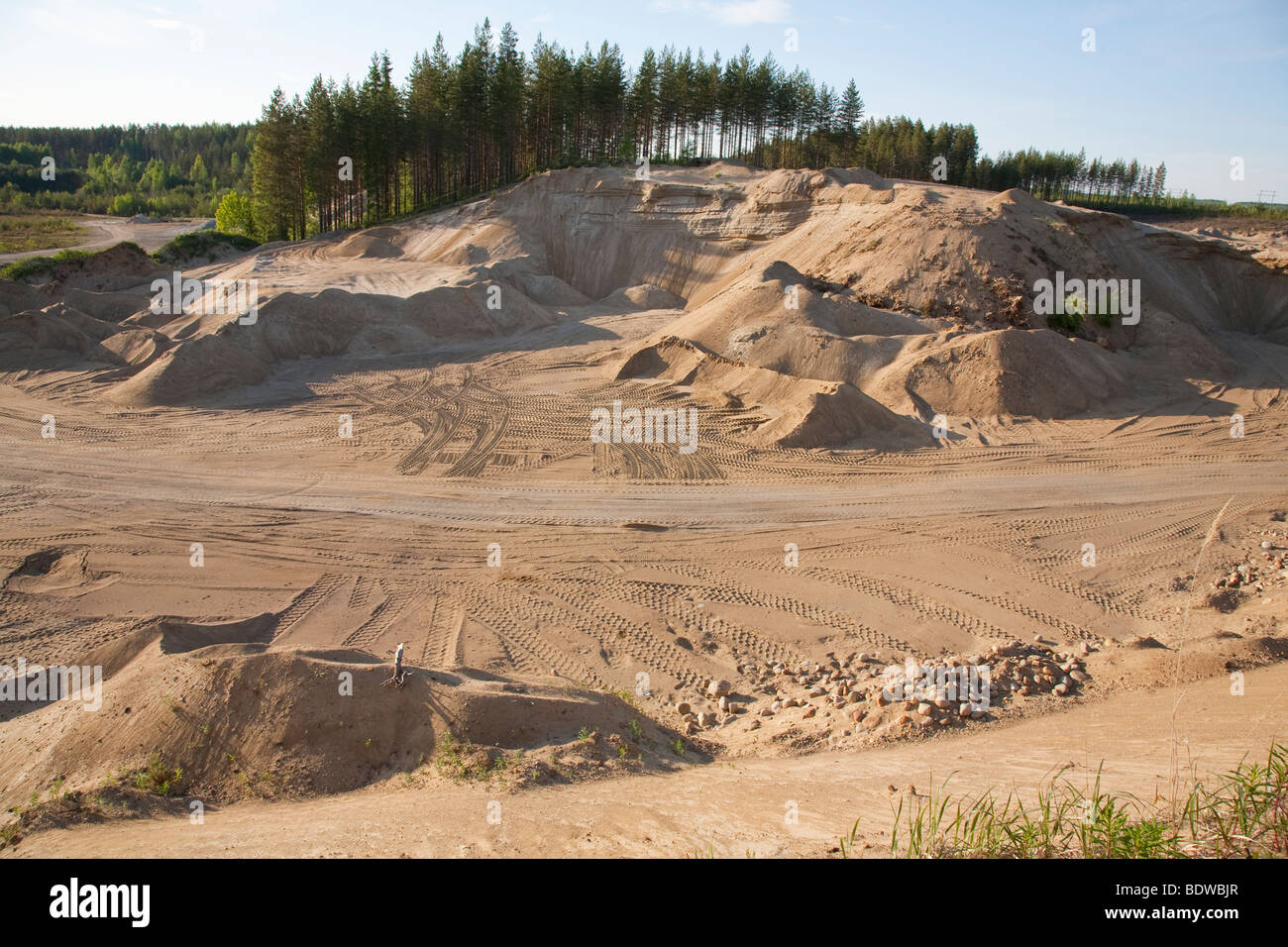 Finnish sandpit at a sandy ridge , Finland - Stock Image