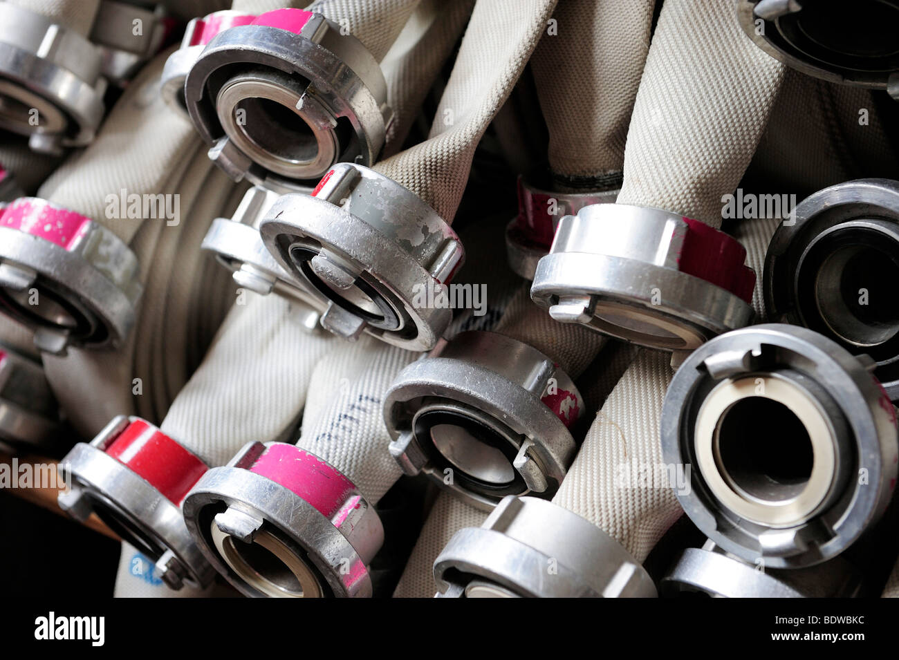 Detail of fire hoses - Stock Image