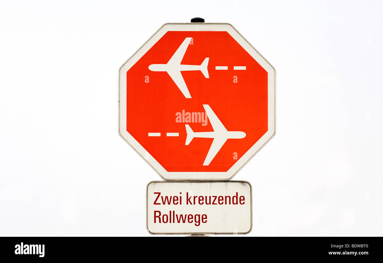 Signs for air traffic at the Munich Airport Franz Josef Strauss, Munich, Upper Bavaria, Bavaria, Germany, Europe - Stock Image
