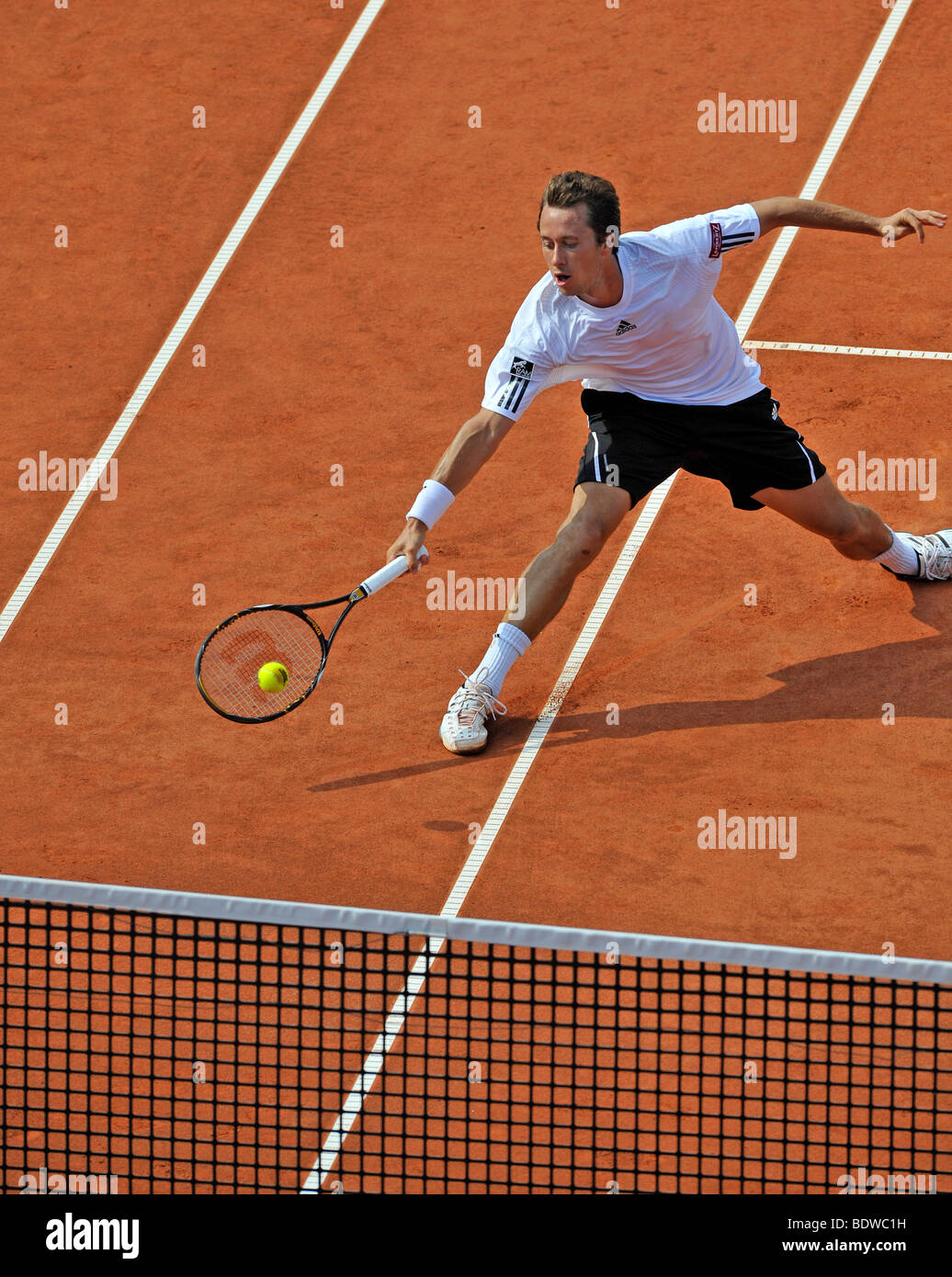 Philipp Kohlschreiber, Germany, attacking near the net, Mercedes Cup Stuttgart 2009, Baden-Wuerttemberg, Germany, - Stock Image