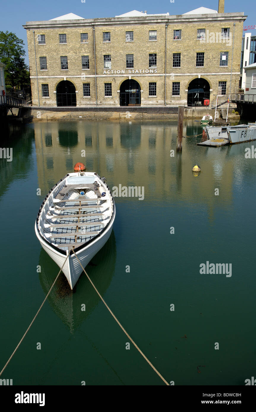 Ships cutter moored at the Royal Naval Museum, Portsmouth Dockyard, Portsmouth, Hampshire, England, UK. - Stock Image