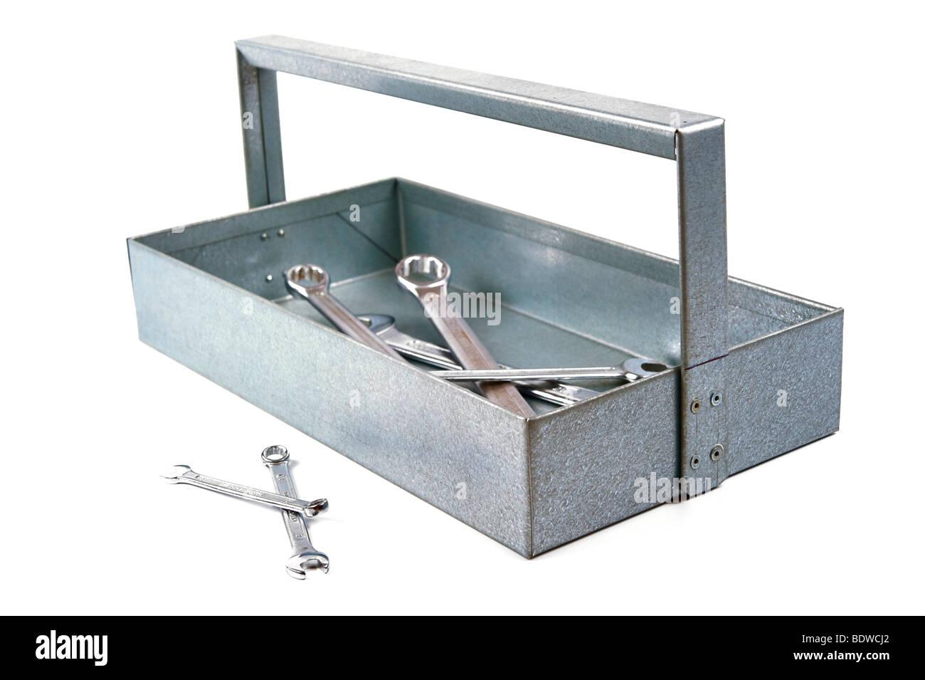 Handmade tool box, apprentice's work, made of galvanized sheet metal - Stock Image