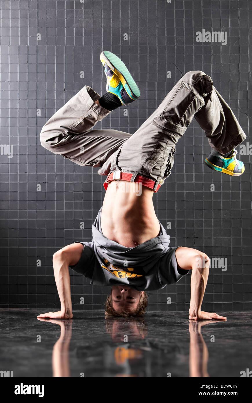 Dancer. Young man modern dance. - Stock Image