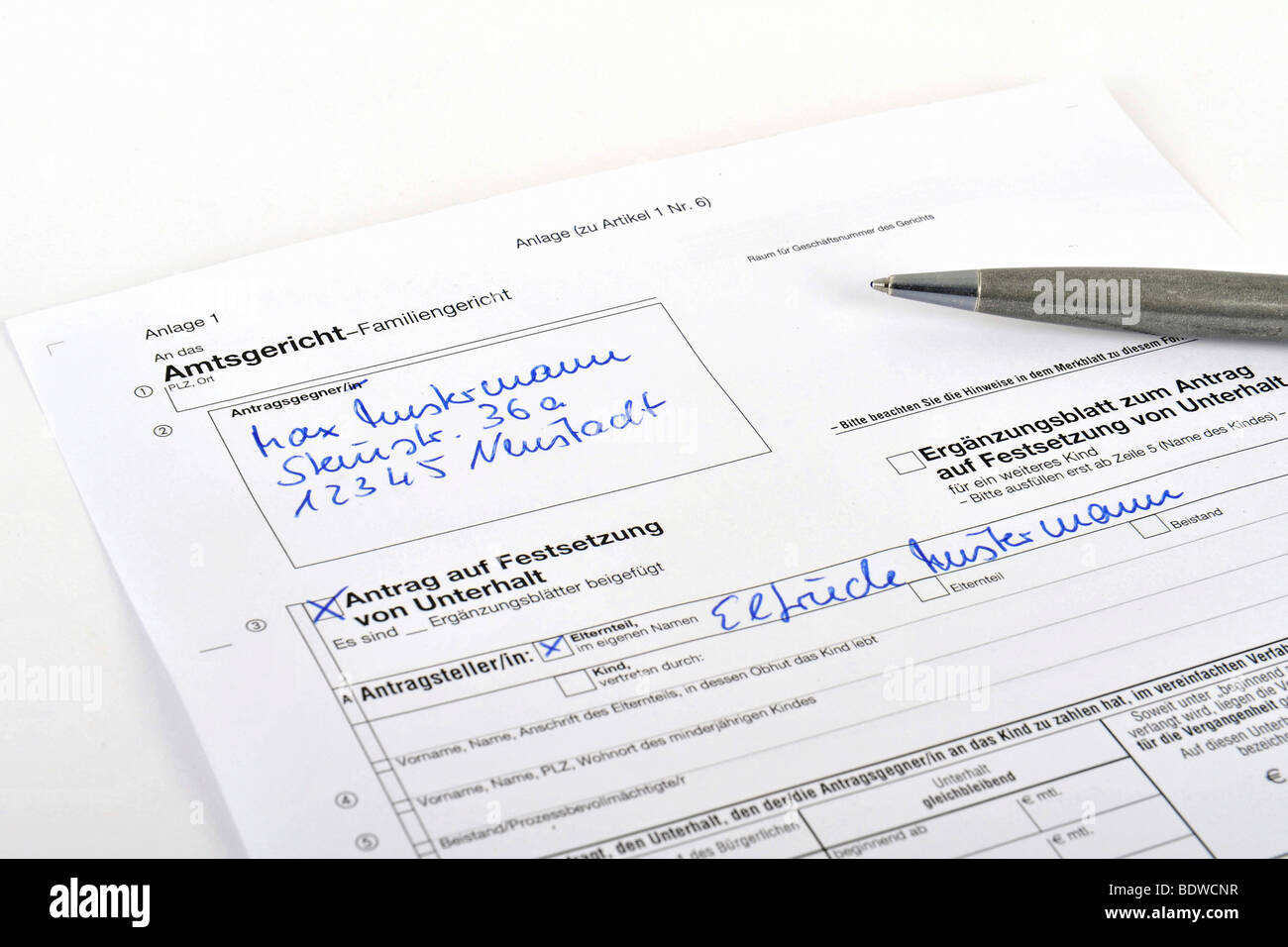 Application form for alimony at the district court Stock Photo