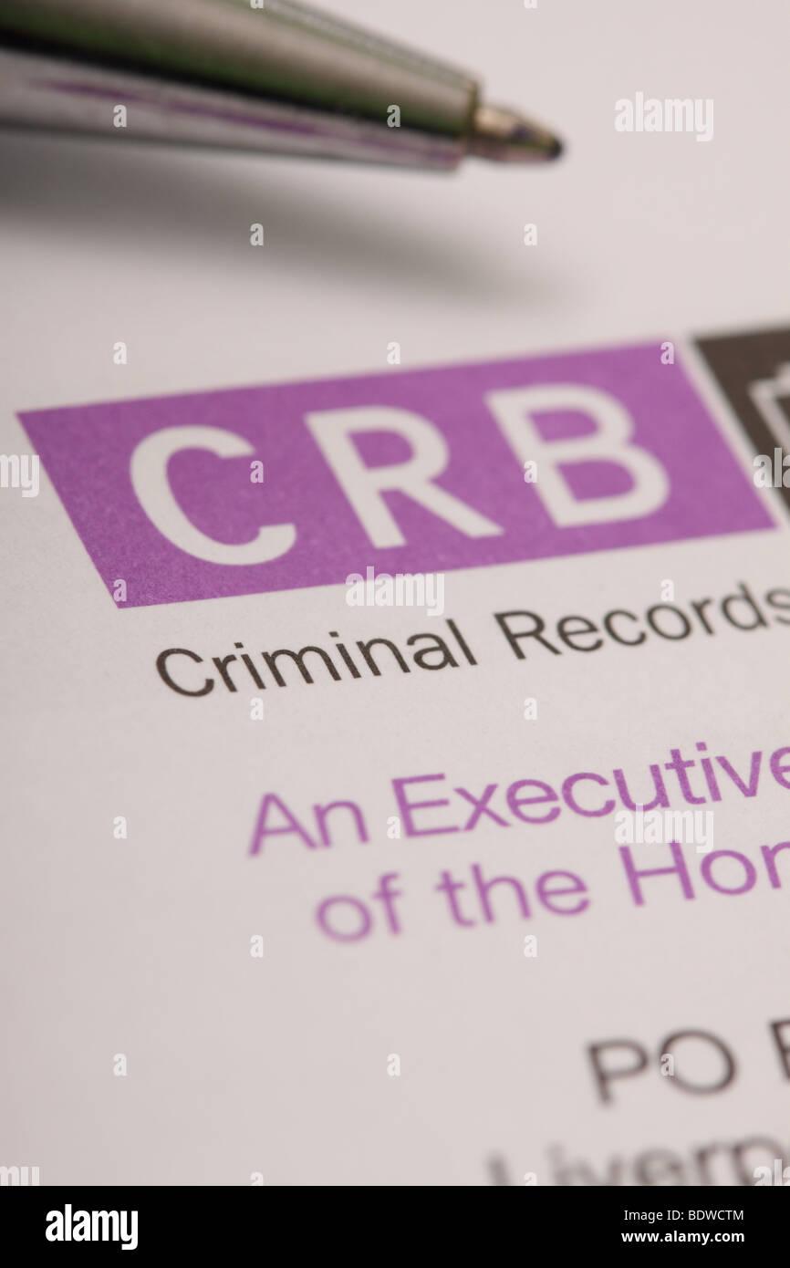 CRB Criminal Records Bureau identity ID check form - Stock Image