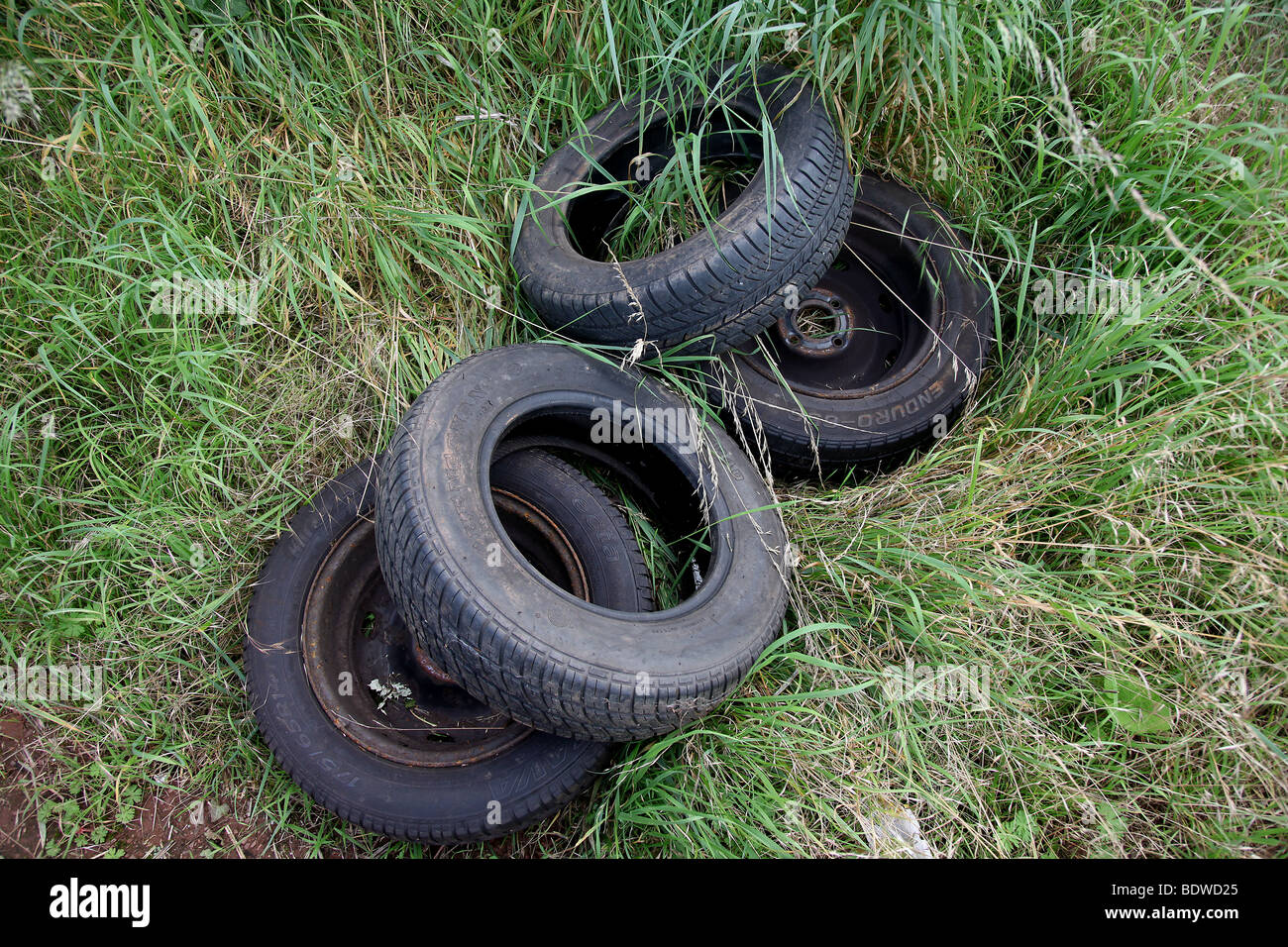 Picture by Mark Passmore. 05/09/2009. Discarded tyres spotted in a field near Tiverton, Devon. - Stock Image