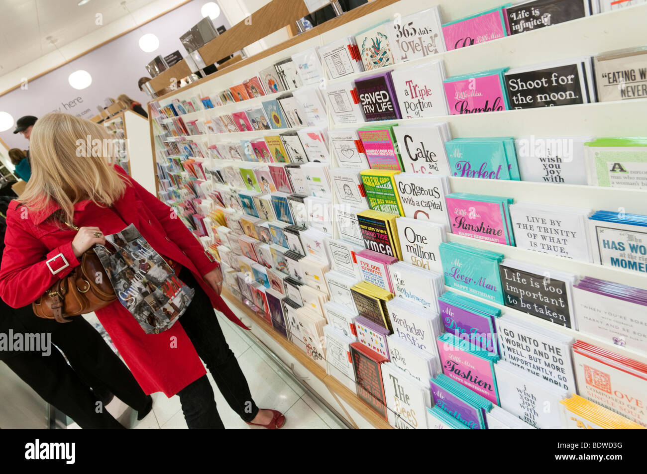 Greeting cards stock photos greeting cards stock images alamy woman shopping for greeting cards in john lewis england uk stock image m4hsunfo
