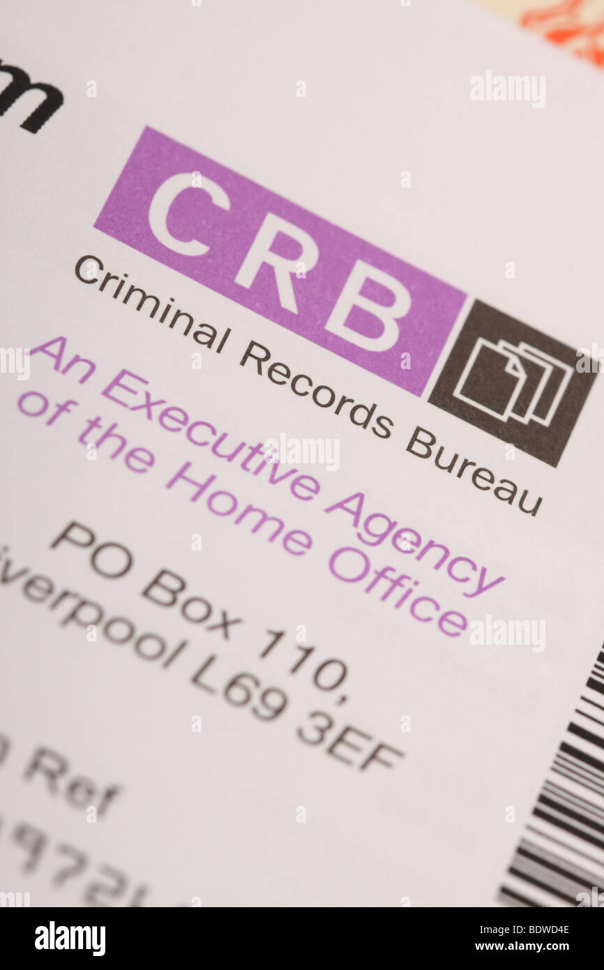 CRB Criminal Records Bureau identity ID check form - Stock Image