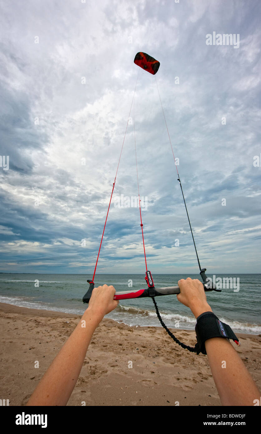 Flying a power kite - Stock Image