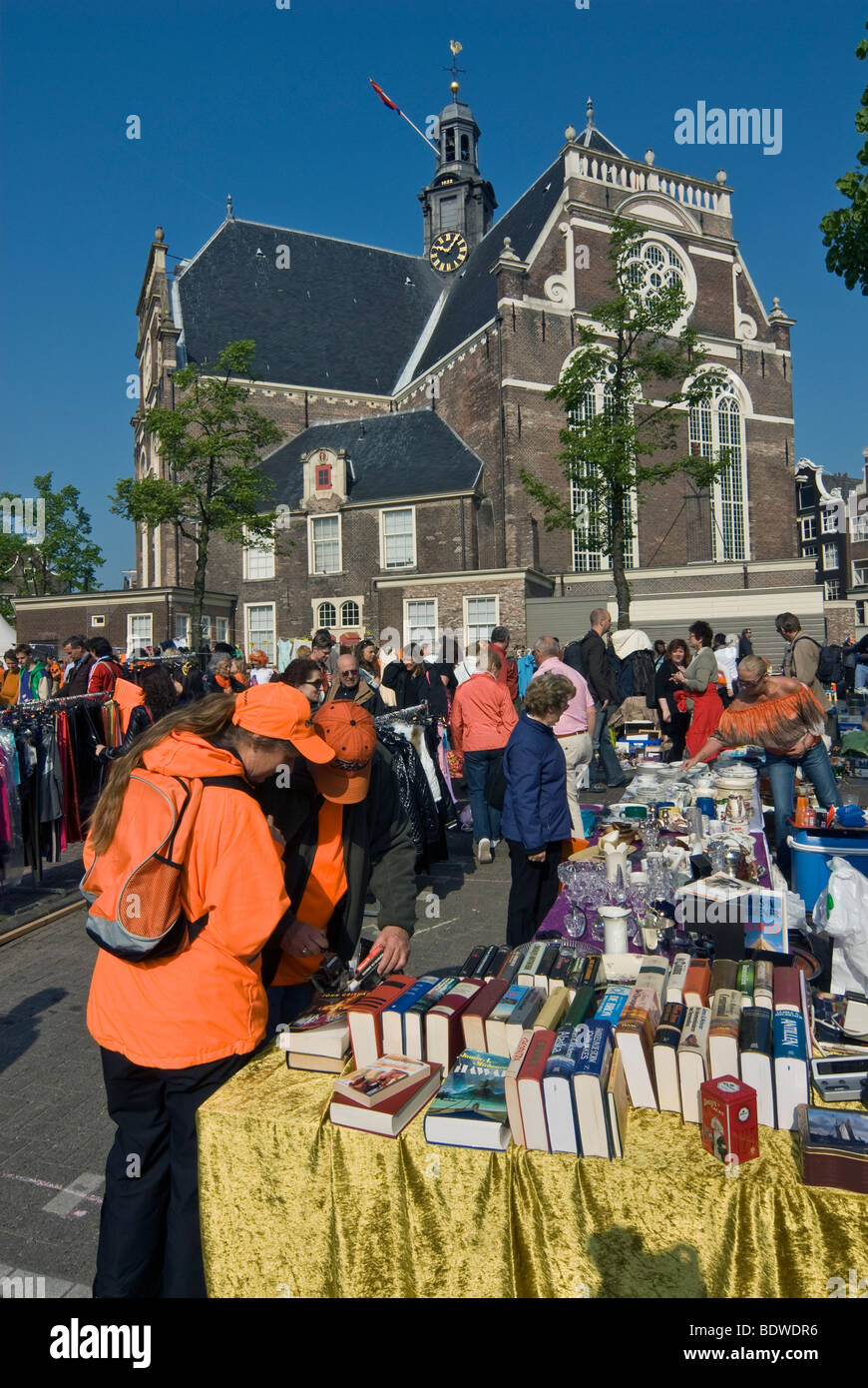 Antiques and book market in front of Noorderkerk (or North Church) in Amsterdam's Jordaan district - Stock Image