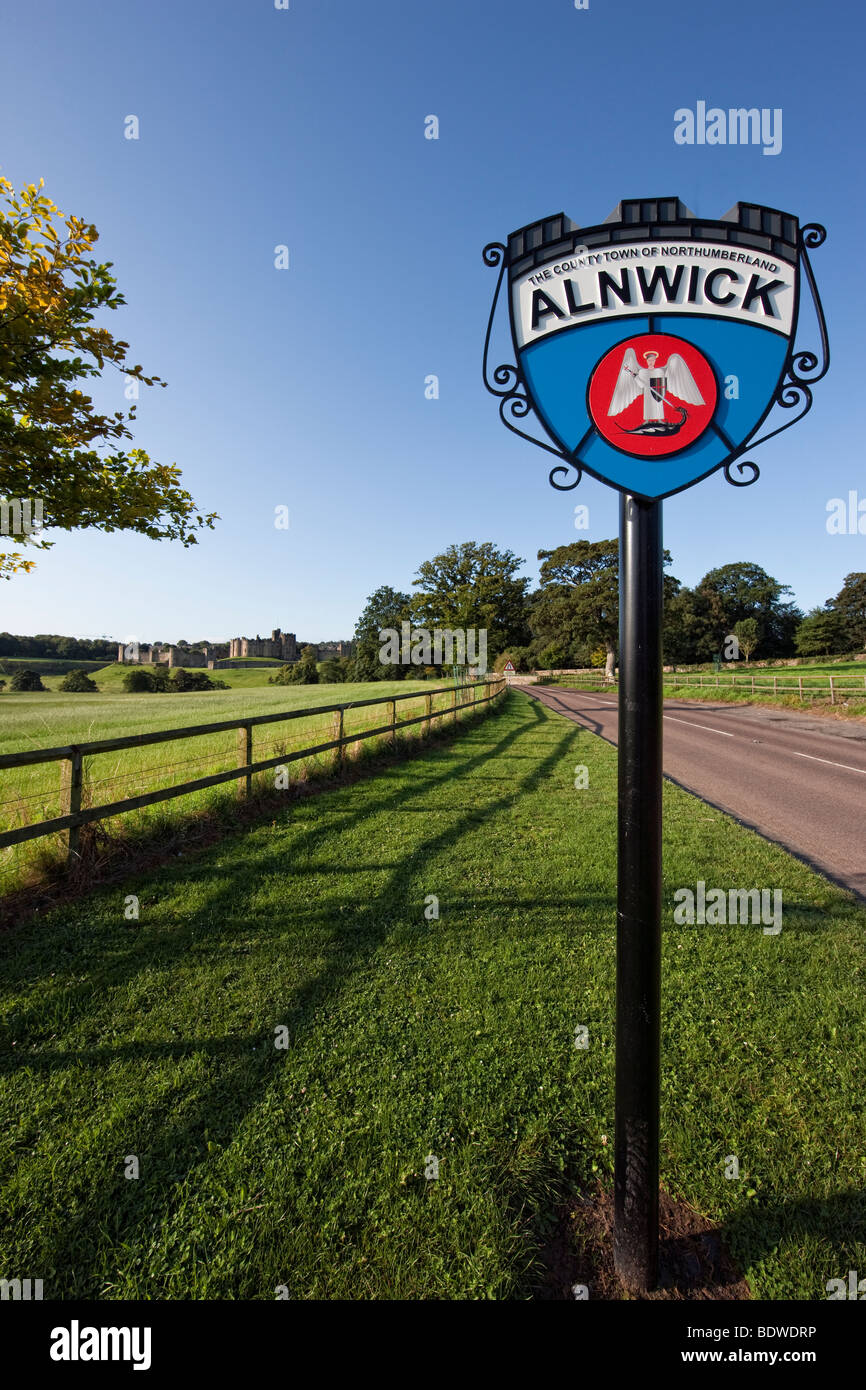 Town sign on the road to Alnwick and it's castle, Northumbria UK - Stock Image