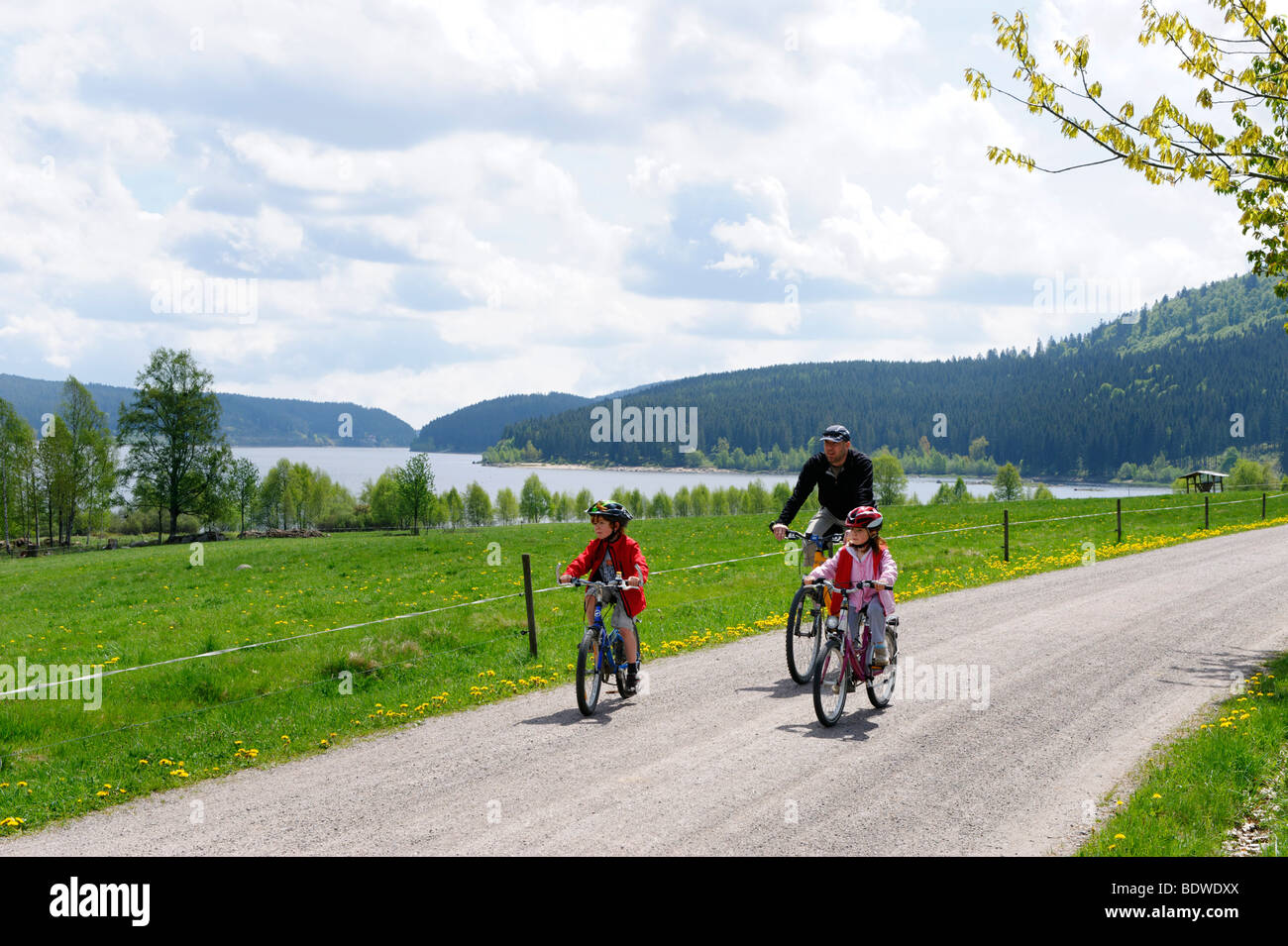 Familiy on a bicycle tour at the Schluchsee lake, Breisgau, Hochschwarzwald Upper Black Forest, Black Forest, Baden - Stock Image