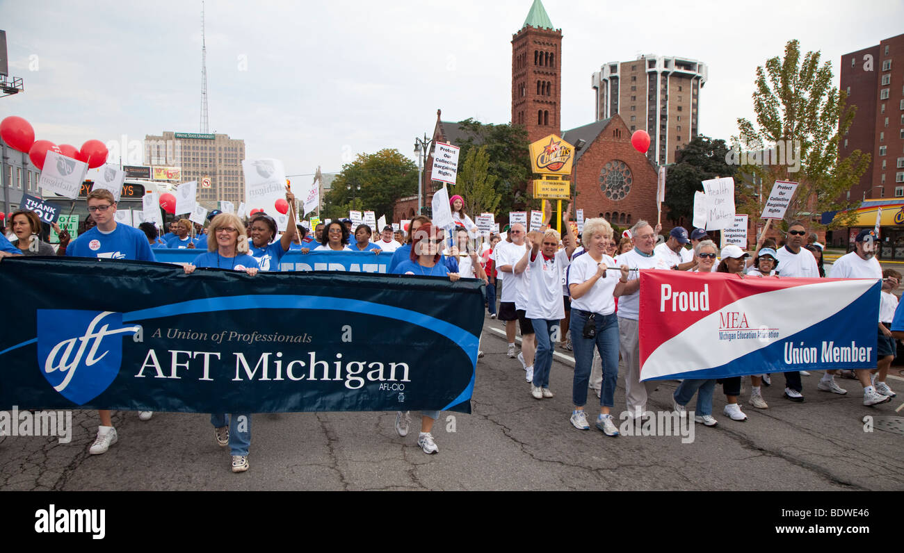 Teachers Unions March Together in Labor Day Parade - Stock Image