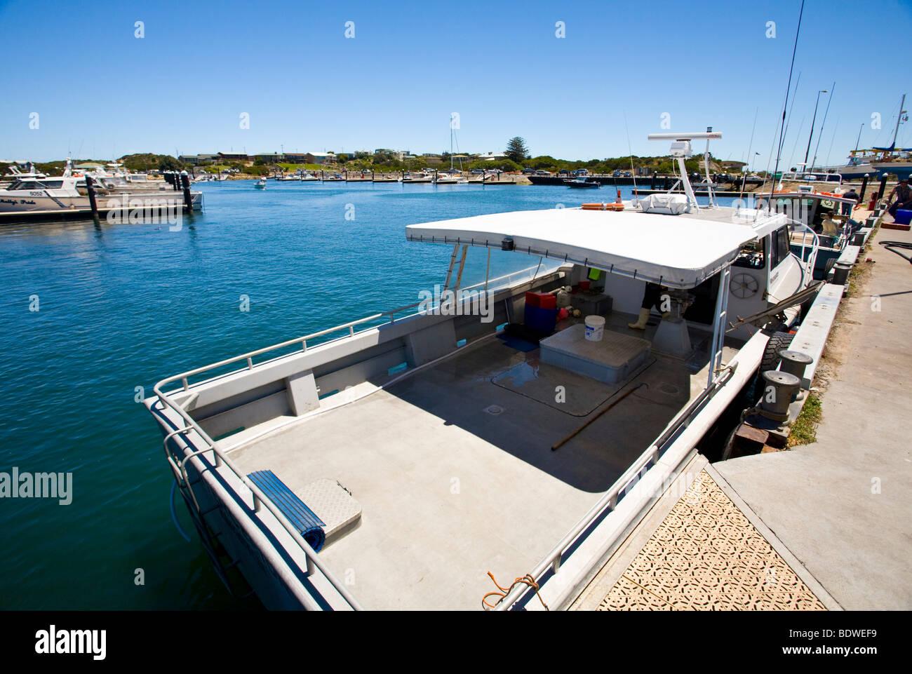 Boat in Robe Harbour, South Australia - Stock Image