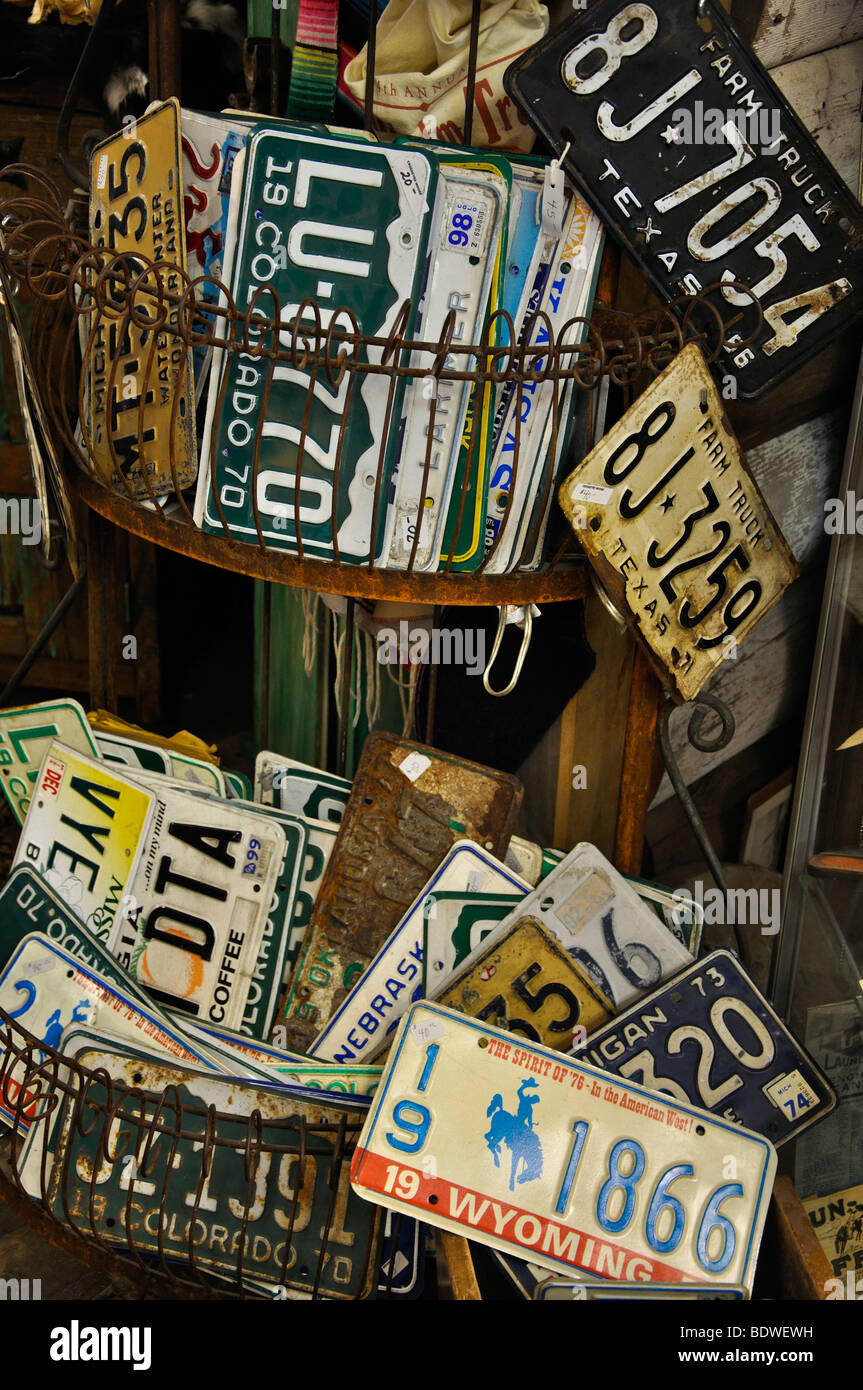 Collectible vehicle license plates at antiques store in Fort Worth ...