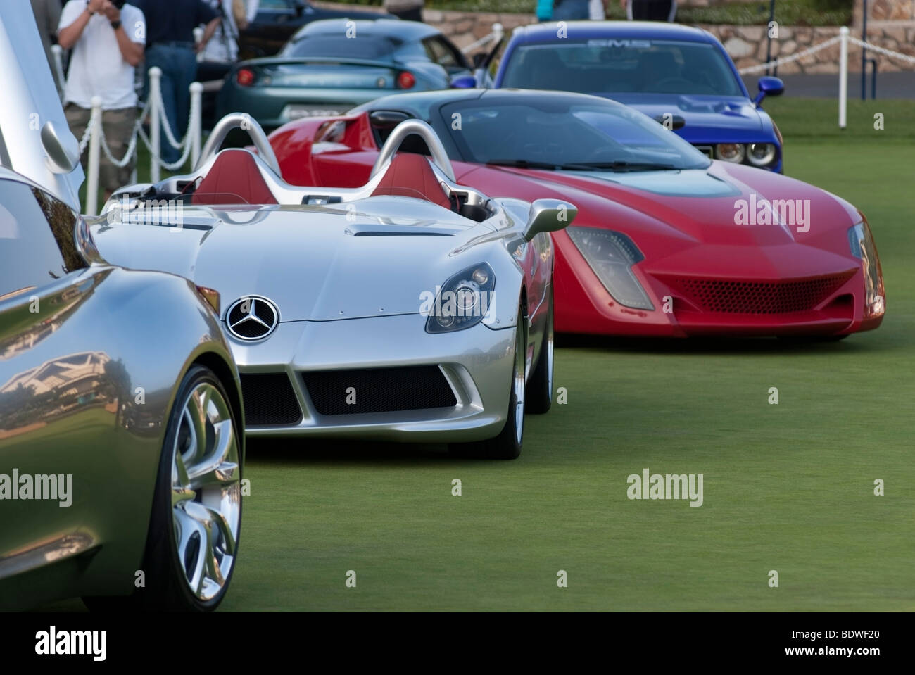 """Mercedes-Benz SLR McLaren Roadster and """"Concept Cars"""" in front of The Lodge at Pebble Beach during the Concours Stock Photo"""